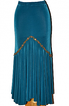 Western Sexy Teal Fit and Flare Long Skirt. #5057JK