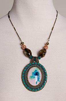 Turquoise NEBULA Art Necklace. #FR16-ACJM01