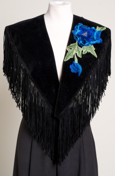 Black Shawl with Blue Floral Applique. (10days to ship) [Limited Edition]. #SH1009-17