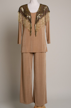 Beaded Champagne Color Three Piece Outfit. (10 days to ship) [Limited Edition]. #Outfit 1009-17