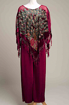 Peacock Rayon Velvet Poncho and Jersey Pants. (10 days to ship). #Outfit 102017 Limited Edition