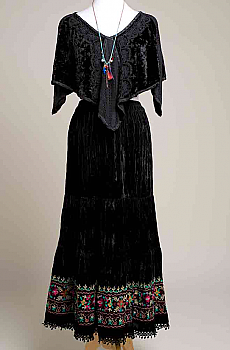 Sexy Long Velvet Embroidered Skirt and Cape Set. (7 Days to Ship). #Outfit 131017 Limited Edition
