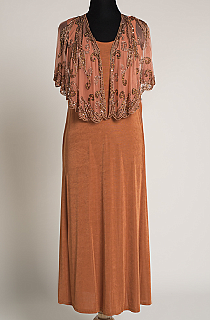 Exquisite Dress and Beaded Caplet Outfit. (7 days to Ship) #Outfit 01BD