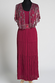 Elegant Burgundy Beaded Cape and Skirt Ensemble. (7 Day To Ship) Limited Edition #Outfit 03BRBD