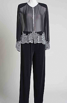Elegant Short Beaded Jacket and Pants. (7 Days to Ship). #Outfit 04KRJK Limited Edition