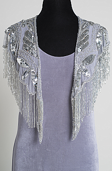 Formal Beaded Caplet and Dress in Grey. (7 days to ship). #BD101