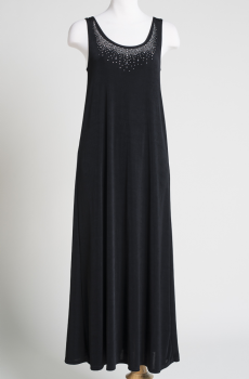 Sleeveless Long Scoop Neck Dress with Rhinestones. (10 days to ship). #100510DJO
