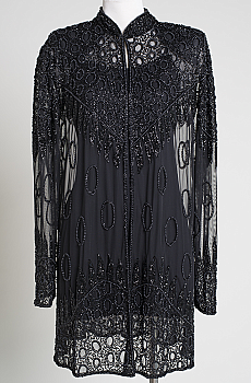 Dramatic Long Black Beaded Jacket. (10 days to ship). #ANJK103BD Limited Edition