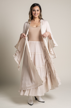 Bohemian Style Long Duster Coat and Skirt Set. #Outfit 082918