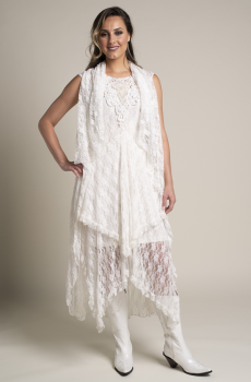 Romantic Long Lace Western Wedding Vest. (2 weeks to ship). #V01118