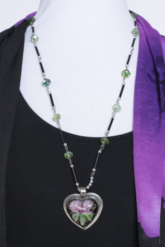 Exquisite One of Kind Purple Heart Necklace #1020NK#( 3 days to ship)