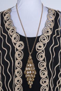 Long Crystal Topaz Color Necklace #102020 LNEK ( 3 days to ship)