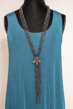 Exquisite Hematite beaded long Necklace #101320 BNCK