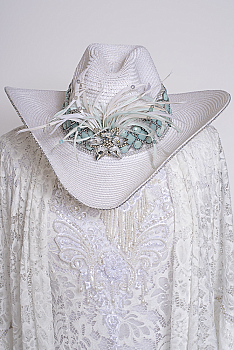Beautiful Beaded Hand Embellished Western Hat #110120 HAT (Two Weeks to Ship)