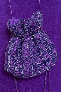 Hand Beaded Purple Color Evening Purse #111120 BDB