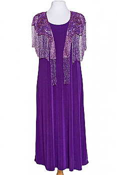 Exquisite Beaded Capelet Purple Outfit #110620BD (One week to Ship)